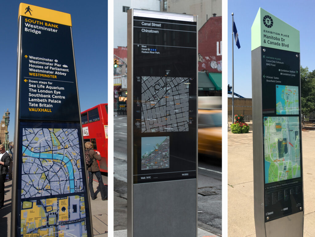 London, New York and Toronto wayfinding signs