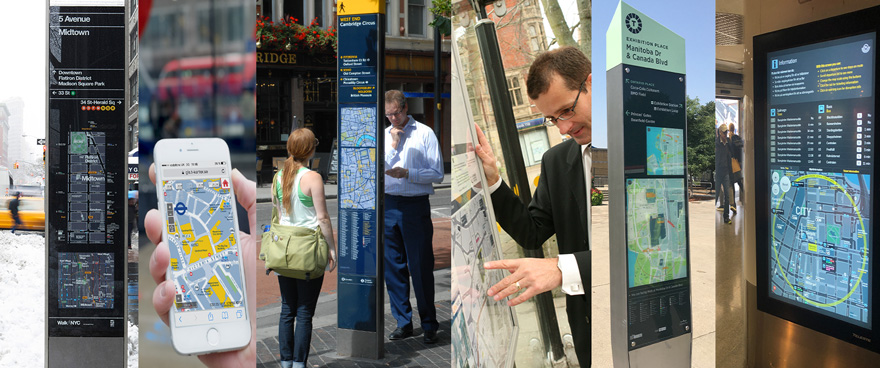 Various types of City Wayfinding information